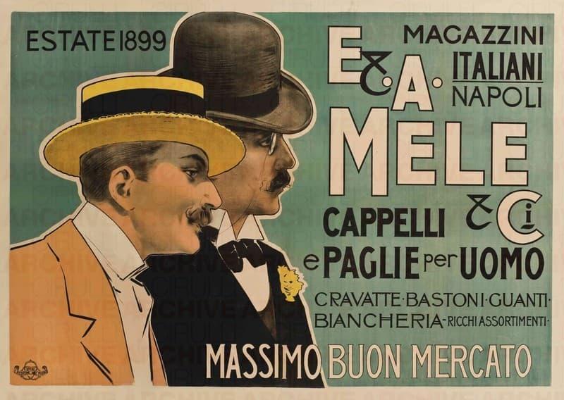 E. & A. Mele & Ci. Napoli. Cappelli e paglie per uomo