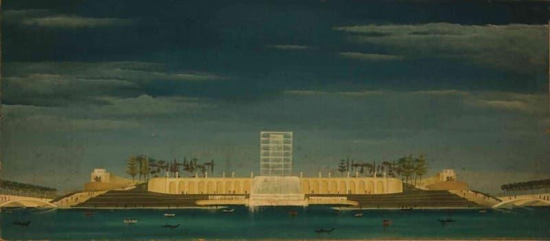Esposizione Universale di Roma 1942 Veduta della cascata centrale sul lago