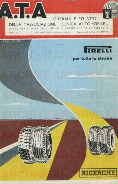 """A.T.A. Giornale ed Atti della """"Associazione Tecnica Automobile"""". Pirelli per tutte le strade"""
