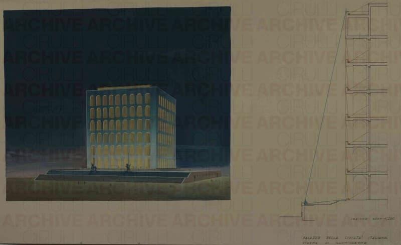 Esposizione Universale di Roma 1942 Palazzo della Civiltà Italiana Schema di illuminazione
