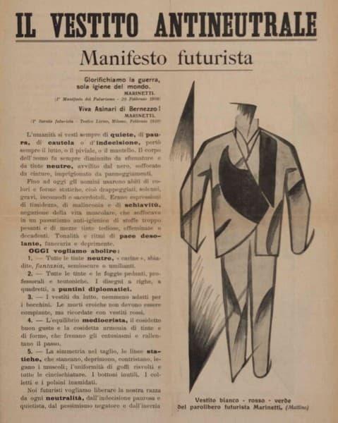 Manifesto futurista Il vestito antineutrale