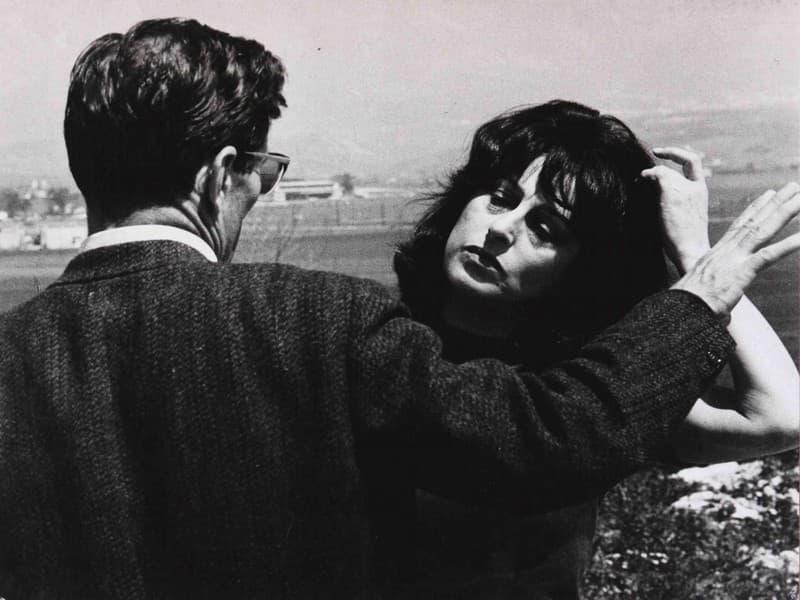 """Pier Paolo Pasolini e Anna Magnani durante la lavorazione del film """"Mamma Roma"""""""