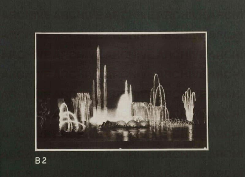 Esposizione Universale di Roma 1942 Foto di bozzetto per Giardini luminosi Particolare menabò