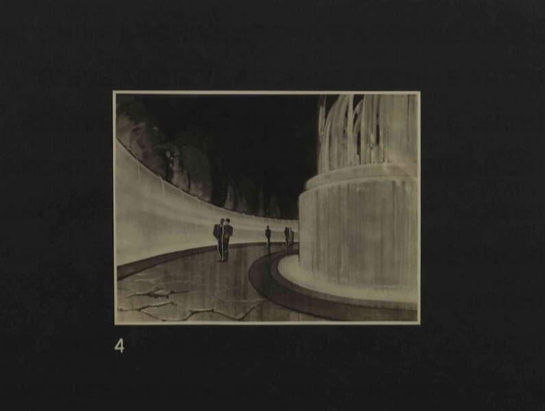 Esposizione Universale di Roma 1942 Foto di bozzetto per piscina luminosa in un giardino d'acqua. Particolare menabò