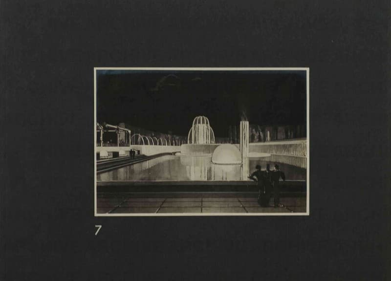 Esposizione Universale di Roma 1942 Foto di bozzetto per piscina luminosa in un giardino d'acqua Particolare menabò
