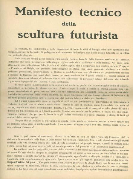 Manifesto futurista Manifesto tecnico della scultura futurista
